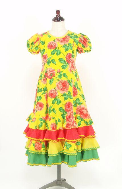 レンタル★RE-14 フラメンコ ワンピース衣装・黄色 120サイズ・子供用