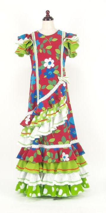レンタル★RE-15 フラメンコ用 ワンピース衣装 赤花柄 140サイズ 子供用