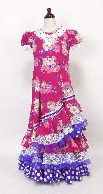レンタル★RE-17 フラメンコ用 ワンピース衣装 ピンク×紫・ベージュ花柄 130サイズ 子供用