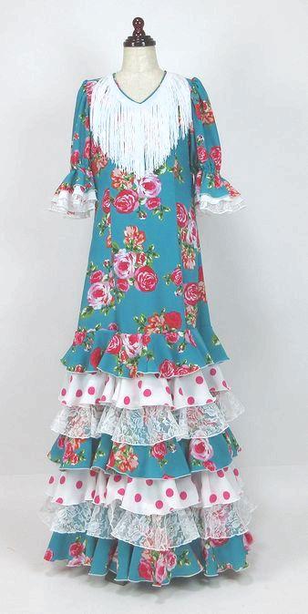 レンタル★RE-20 フラメンコワンピース衣装 青緑×赤ピンク花柄 150サイズ 子供用