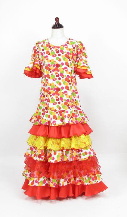 レンタル★RE-21 フラメンコ用 ワンピース衣装 白×赤・黄・黄緑・ピンク水玉 130サイズ 子供用