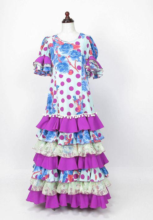 レンタル★RE-22 フラメンコ用 ワンピース衣装 ペパーミント×赤紫水玉&青緑花柄 140サイズ 子供用