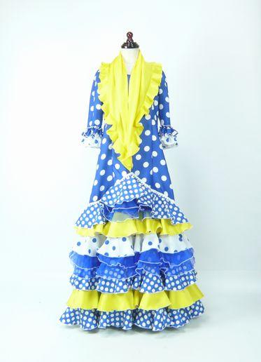 レンタル★RE-25 フラメンコ ワンピース衣装 青×白水玉 140サイズ 子供用