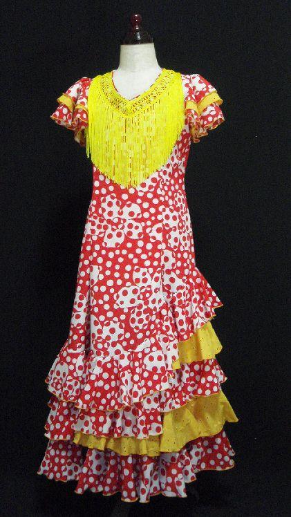 レンタル★RE-4 フラメンコ ワンピース衣装 ・130サイズ 子供用