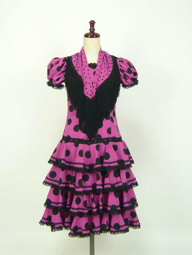 レンタル★RE-2 フラメンコ ワンピース衣装 120サイズ 子供用 濃いピンク×黒水玉