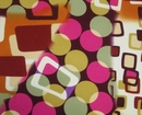 ★S-94★スペイン生地★茶系幾何学模様、ピンク水玉 コチーボ150cm幅