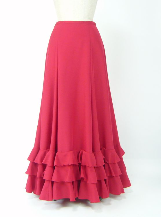 ★セール★SP8★3段フリルペチコート(裾幅広め) 赤 W66丈95