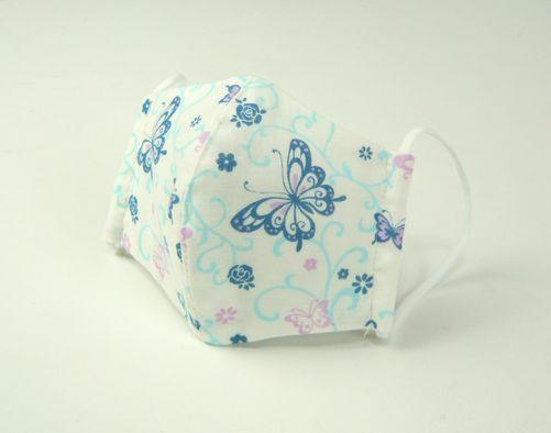 ●立体布マスク(ガーゼ) 白地ブルー系バタフライ(蝶)柄 女性用