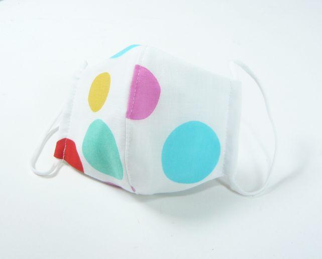 夏マスク●接触冷感生地使用●立体布マスク てぬぐい地 白地カラフル水玉女性用