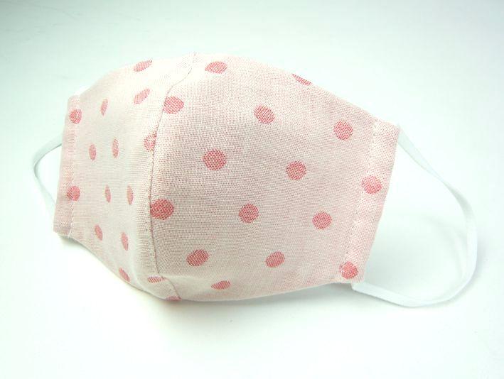 ●立体布マスク● サーモンピンク水玉 女性用 M