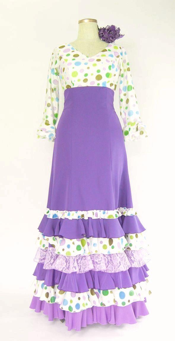 ★セール★SH-13 ハイウエスト・ツーピース 紫&白×カラフル水玉 B93W74