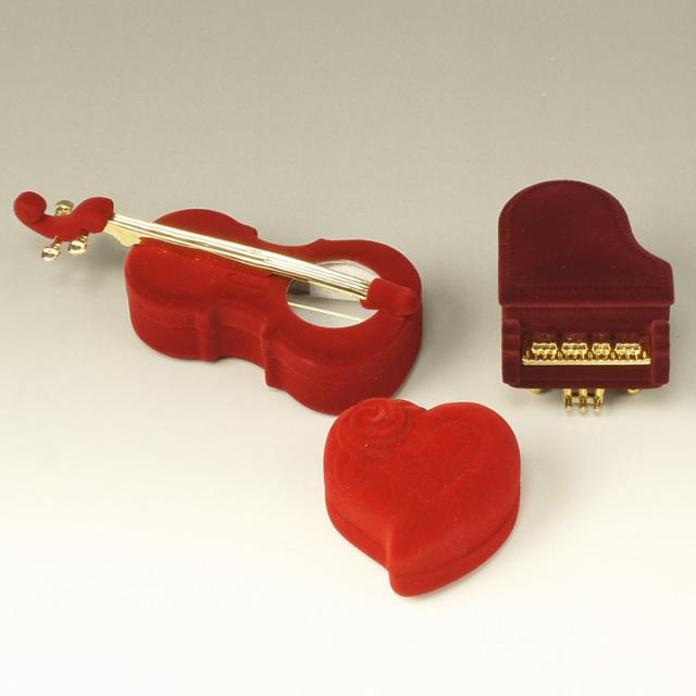 演奏家の方にオススメ!ベロア素材の楽器&ハートモチーフリングケース♪ JGB032