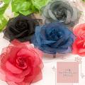 コサージュ★コサージュ CO-049-2 ラメ縁ローズオーガンジーコサージュ(ヘアクリップ付き)(全13色)