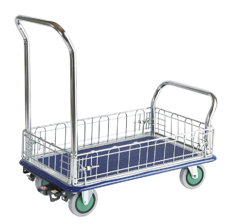 こぼれやすい荷物も安全に運搬する金網付台車です.しずかるスーパーNS102N荷台寸法W738xD478