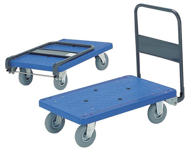 静かでクッション性のある空気タイヤ付プラL型台車PRBLWD 300AR(大)ホテルや病院絨毯大理石などに最適