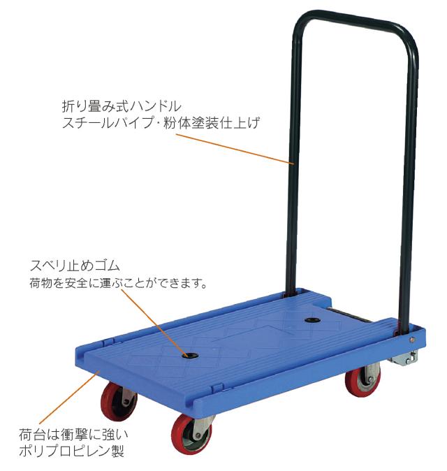 丈夫で軽く静かなプラ折畳ハンドル台車ミニプラM(小)