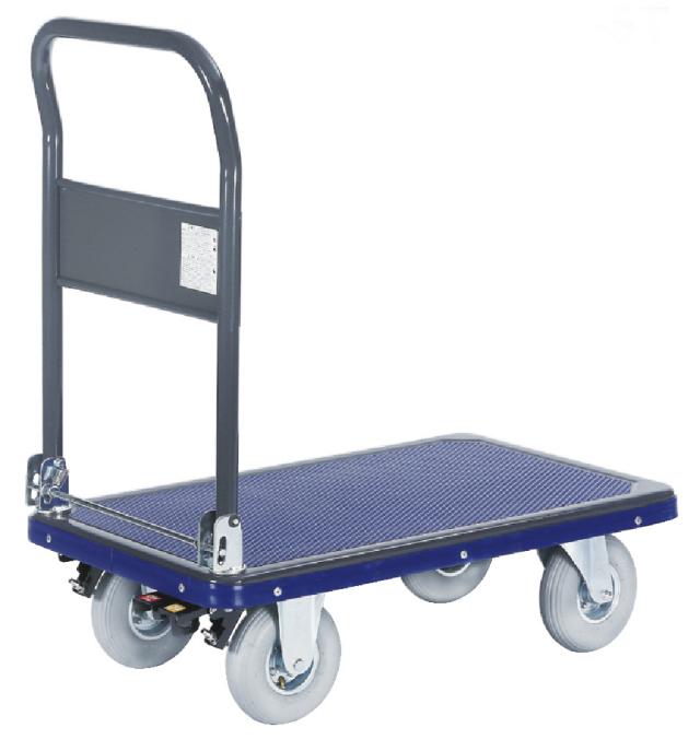 荷台サイズが使いやすく小回り性が高い空気タイヤ付スチール台車(中)NS250E-AR 荷台寸法W810xD510