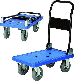静かでクッション性のある空気タイヤ付プラL型台車PRBL150AR(小)ホテルや病院絨毯大理石などに最適