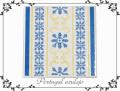 130743ポルトガルタイルアズレージョの鍋敷きイエロー&ブルーの花絵柄スタンド付