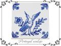 130746ポルトガルタイルアズレージョの鍋敷き 鳥絵柄 ブルースタンド付