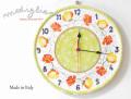 140405Modigliani モディリアーニイタリア製陶器FIESOL花模様時計FS801