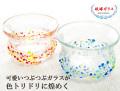 150503沖縄の伝統工芸品 琉球ガラス つぶつぶ冷茶グラス カゴ入り ギフトセット
