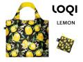 LOQIローキー ブランド エコバッグ 折り畳み 大きいサイズ レモン花柄 JUICY Collection Lemons
