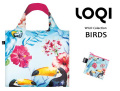 160309LOQIローキー ブランド エコバッグ 折り畳み 大きいサイズ 花柄 鳥柄 バード WILD Collection Birds