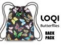 LOQIローキー ブランド バックパック ナップサック リュック 軽い 蝶々 バタフライ WILD Collection Butterflies