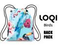 LOQIローキー ブランド バックパック ナップサック リュック 軽い 花柄 鳥柄 バード WILD Collection Birds