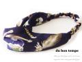 160329ヘアバンド スカーフヘッドバンド ツイストヘアターバン サテン生地 スカーフ風羽柄 ネイビー