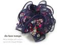 160340シュシュ レース&小花柄 フラワー ボリュームシュシュ ヘアゴム ヘアアクセサリー ネイビー