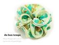 160341シュシュ キレイ色グリーン 水彩花柄 フラワーシュシュ ヘアゴム ヘアアクセサリー