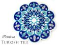 160702トルコタイル 鍋敷き 花型 Artnicea KUTAHYA デザインプレート ブルーチューリップ&カーネーション143