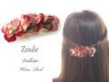 161207バレッタ 髪留め ヘアアクセサリー zouleゾーラ 立体的なお花とコットンパール&ビジュー ワインレッド