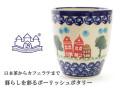 161214ポーリッシュポタリー 陶器 湯呑み バルマグ 持ち手なしマグカップ ザクワディ ZAKTADY お家柄 街並み柄
