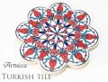 170102トルコタイル 鍋敷き 花型 Artnicea KUTAHYA デザインプレート チューリップ&カーネーション オリエンタル041