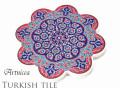 170103トルコタイル 鍋敷き 花型 Artnicea KUTAHYA デザインプレート オスマントルコ調ボタニカル042