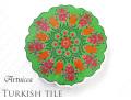170210トルコタイル 鍋敷き 花型 Artnicea KUTAHYA デザインプレート 小花&チューリップ グリーン142