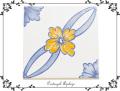 170341ポルトガルタイル アズレージョの鍋敷き 黄色い花柄 アートスタンド付き