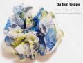 170345シュシュ ブルー&イエローのお花柄 ふんわりシフォン パイピング ヘアゴム シュシュ