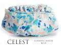 170409コスメポーチ 化粧ポーチ 花柄 水彩フラワー Celesteセレスト フリル付コスメポーチ ブルー