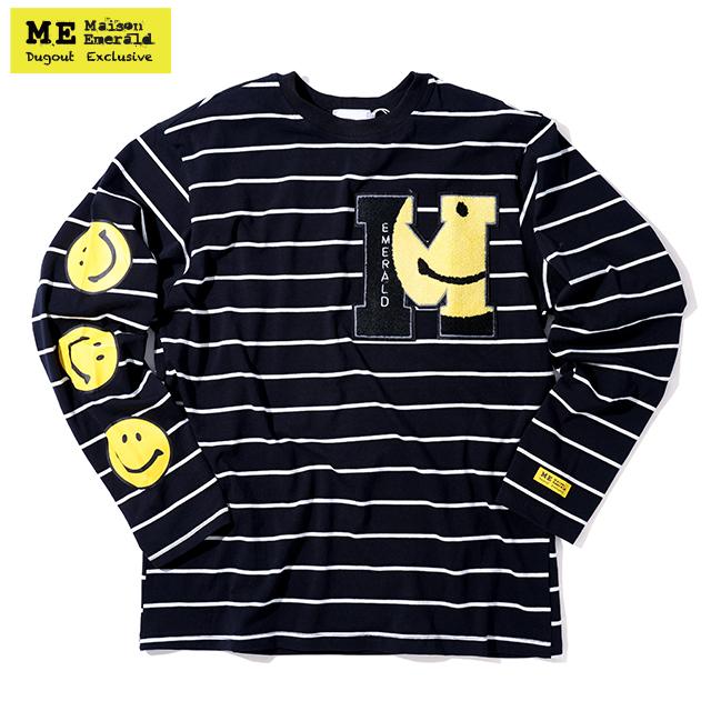 MAISON EMERALD X DUGOUT SMILEY BORDER LS TEE メゾンエメラルド ダグアウト 別注 ボーダー 長袖 Tシャツ