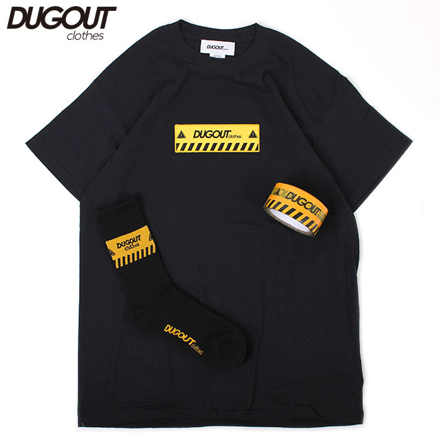 DUGOUT KEEP OUT PACK BLACK ダグアウト 立入禁止 半袖 Tシャツ ソックス 靴下 テープ