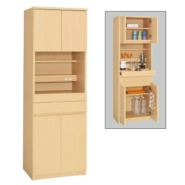 コクヨ KOKUYO ビジネスキッチン 木製食器収納ユニットW600×D450×H1800 BK-W120F1N3/BK-W120PP2N3