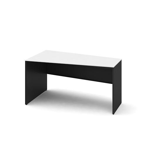 オカムラ ソリストデスク パネル脚:ブラック/ホワイト 台形天板ホワイト W1400D700H720 3K25ED-MK/3K25HD-MK