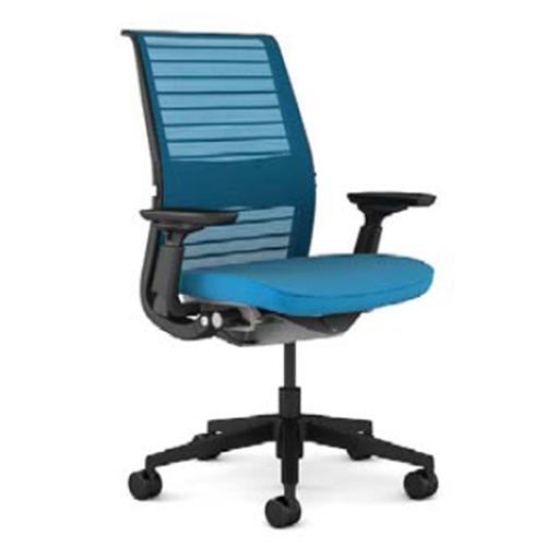 スチールケース Steelcase オフィスチェア Think シンクチェア 背3Dニット ブラックフレーム 可動ランバーサポート HPD可動肘 5-320-626*