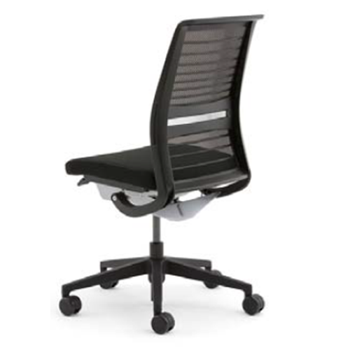 スチールケース Steelcase オフィスチェア Think シンクチェア 背3Dニット ブラックフレーム 可動ランバーサポート 肘無 5-320-026*