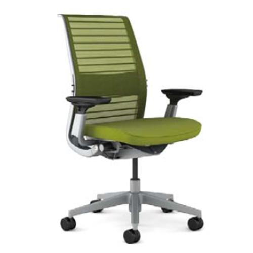 スチールケース Steelcase オフィスチェア Think シンクチェア 背3Dニット プラチナフレーム 可動ランバーサポート HPD可動肘 5-320-726*