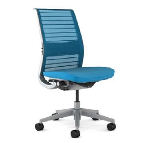 スチールケース Steelcase オフィスチェア Think シンクチェア 背3Dニット プラチナフレーム 可動ランバーサポート 肘無 5-320-126*